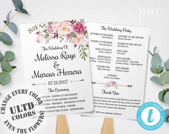 Pink Floral Wedding Program Fan Template, Bohemian Floral Wedding, Wedding Program Template, Boho Flowers Wedding Ceremony Program, Editable