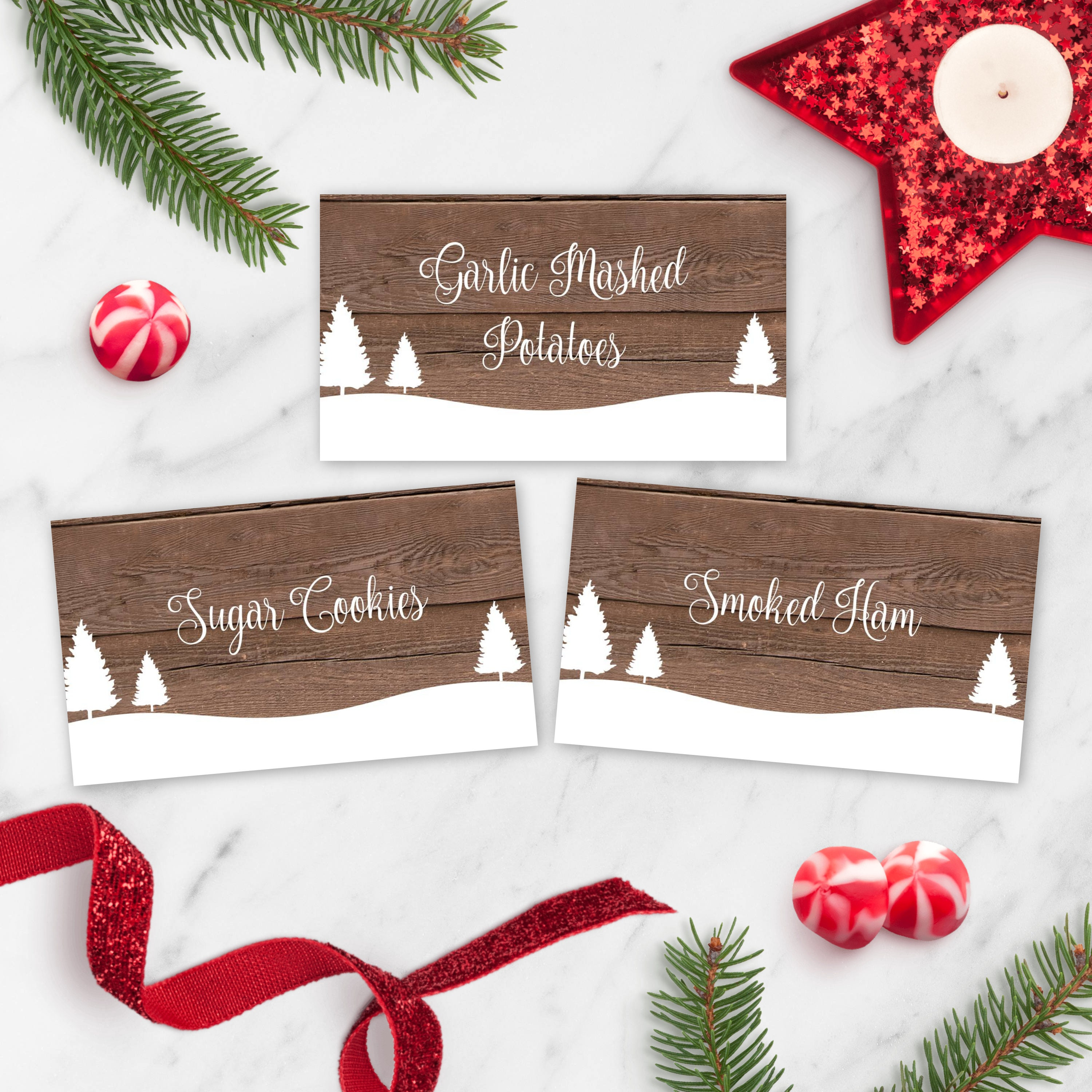 Holiday Party Buffet Cards, Rustic Christmas Food Tent Card Template,  Printable Folding Place Cards for Christmas, Food Label Downloadable With Christmas Table Place Cards Template