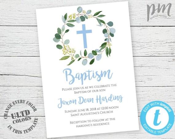 Blue Baptism Invitation Boy Baptism Invite Greenery Baptism | Etsy