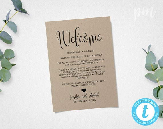 rustic wedding welcome letter template welcome bag note etsy