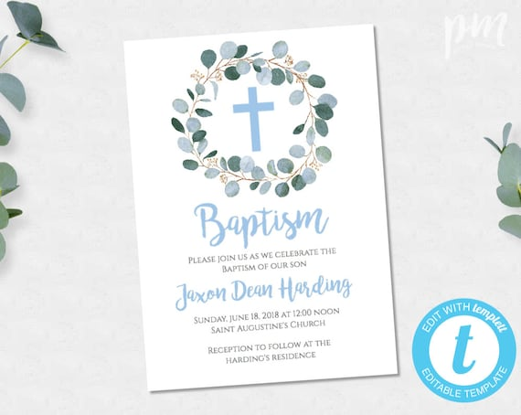 Boy Baptism Invitation Greenery Printable
