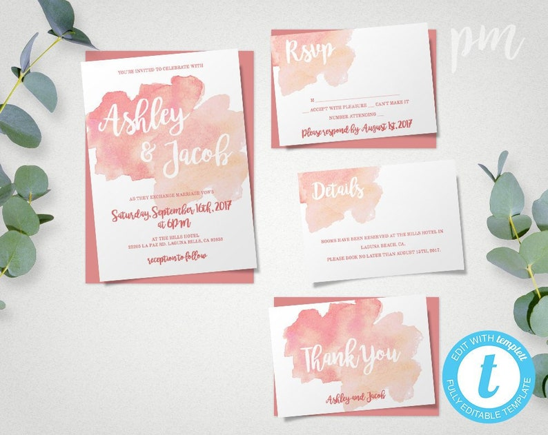 Coral Watercolor Wedding Invitation Template Suite Printable With RSVP Editable Details Thank You Card Summer WBCW