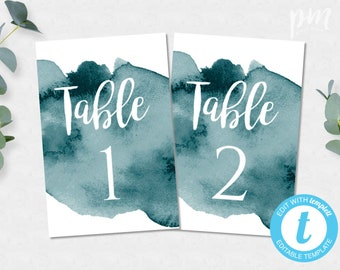 Table Number Wedding Table Numbers Instant Download Table Number Card Number Template Wedding Printable Template Teal Watercolor Numbers