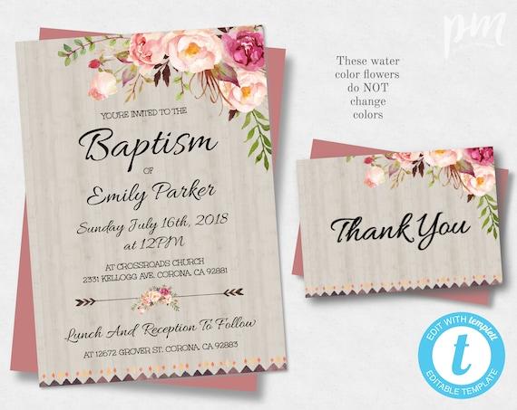 Floral Bohemian Printable Baptism Invitation Template Etsy
