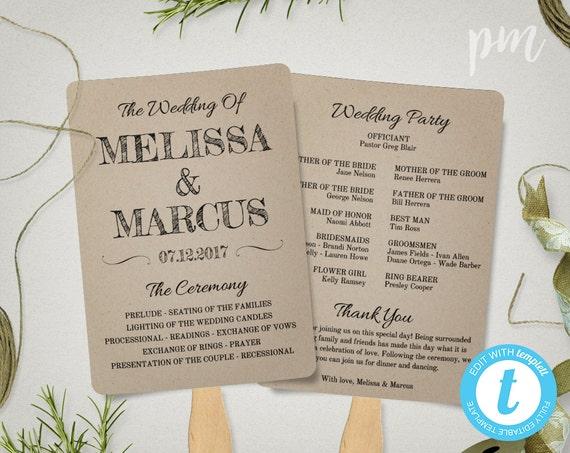 Rustic Wedding Program Fan Template Fan Wedding Program   Etsy