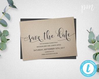 Save The Date Template, Save The Date Card Wedding Template, DIY Save The Date, Instant Download Printable Card, Printable Wedding Template