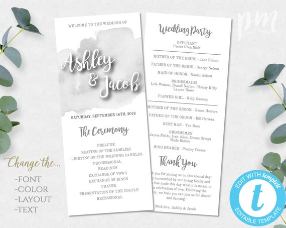 gray watercolor wedding program template 1 2 page printable etsy