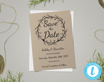 Rustic Save The Date Template, Save The Date Card, Rustic Wedding Template, Printable Save The Date, DIY Save The Date, Instant Download