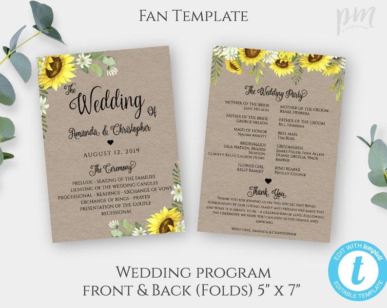 Wedding Program Fan Template.Sunflower Program Fan Template For Wedding Rustic Fan