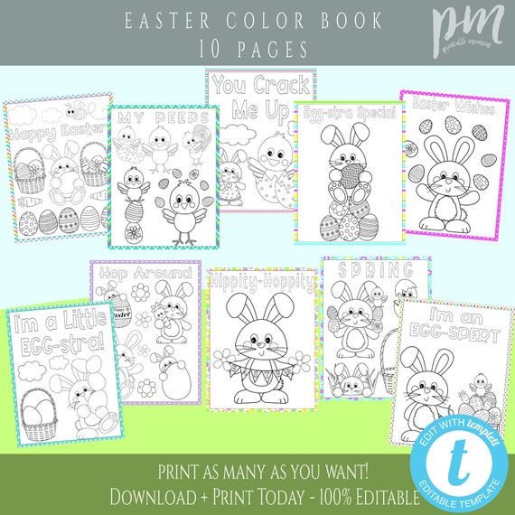 Easter Coloring Pages for Kids 10 Page Coloring Printable