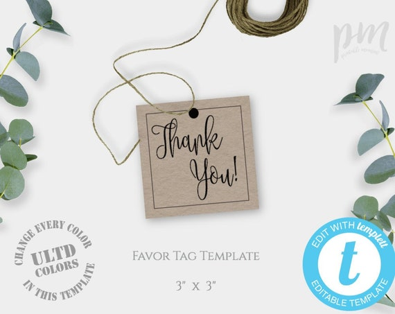 Rustic Wedding Favor Tags Template Printable Wedding Thank Etsy