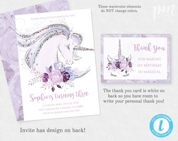 unicorn birthday invitation template editable instant etsy
