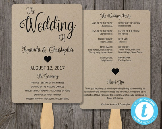 Kraft Paper Program Fan Template Wedding Fans Instant Download Printable Ceremony