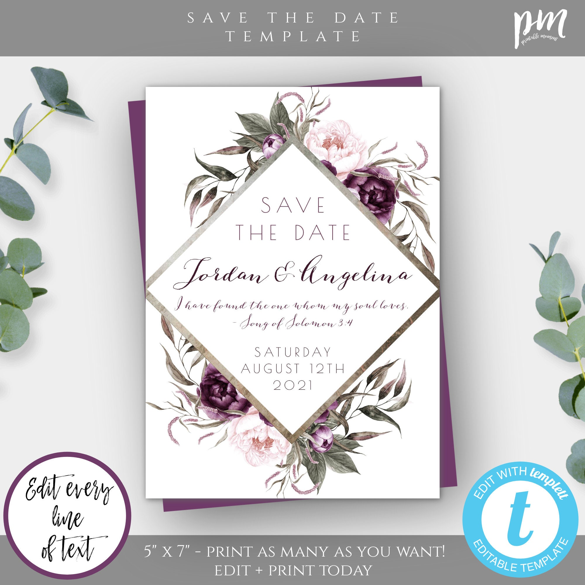 Printable Bohemian Save The Date DIY Editable Boho Save The Date Instant Download Pink Floral Save The Date Invitation Template WBBH