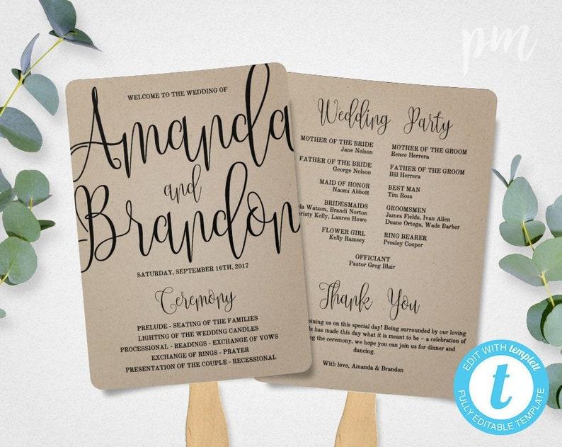 Wedding Program Fan Template.Rustic Wedding Program Fan Template Calligraphy Script Etsy