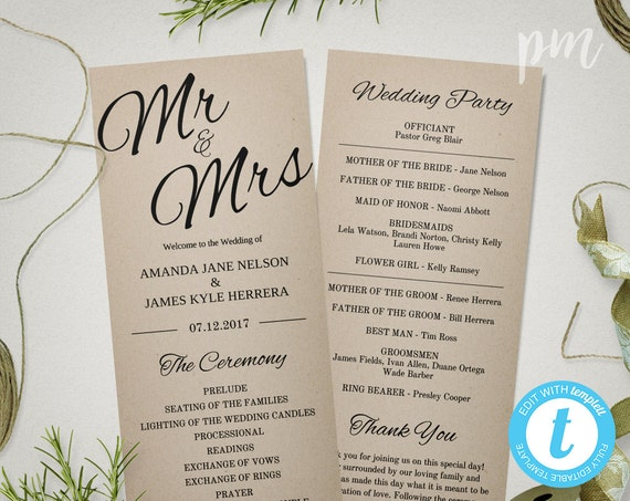 Rustic Wedding Program Template Printable Mr Mrs Instant Download Ceremony Editable