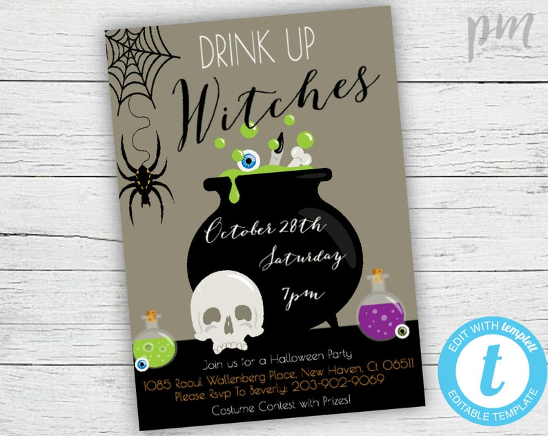 e9ddb7168ee Drink Up Witches Halloween Party Invitation Template Costume