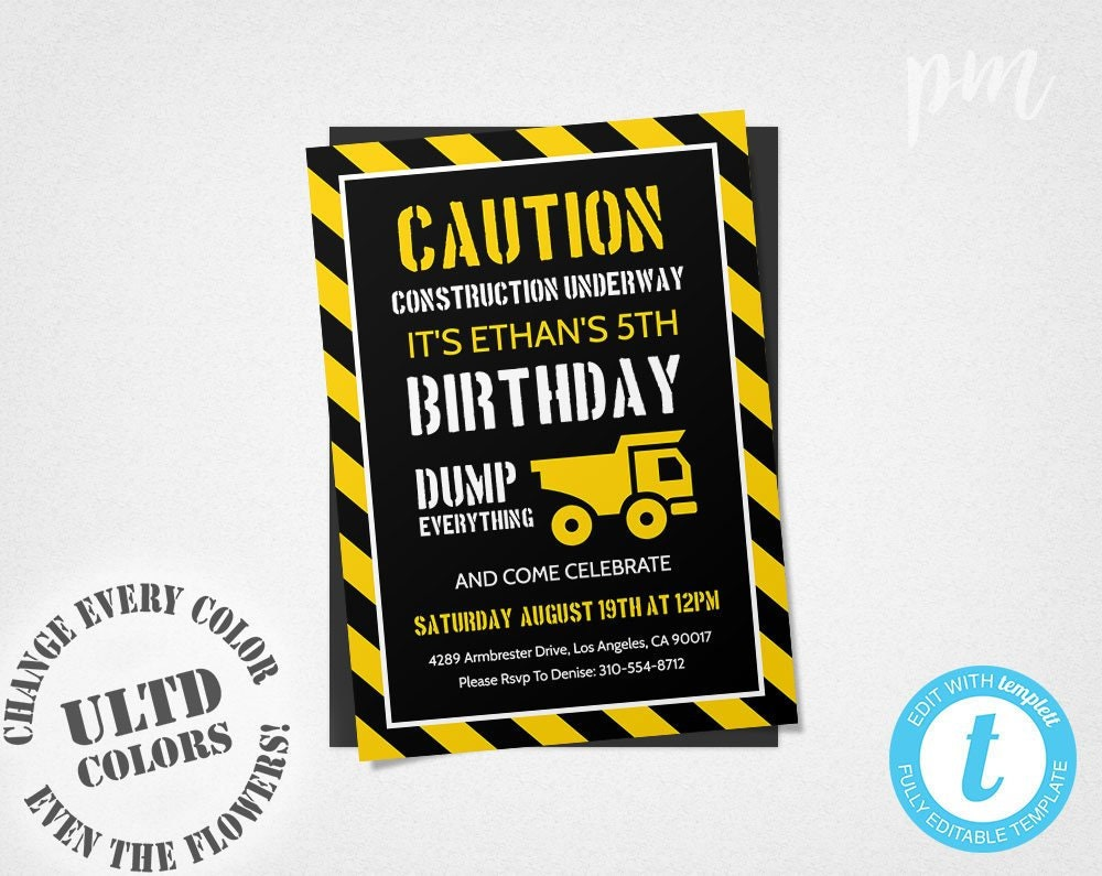 Construction Birthday Party Invitation Template Invite Dump Truck Everything