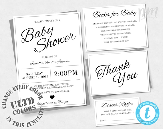 Baby shower invitation template gender neutral baby shower etsy image 0 filmwisefo
