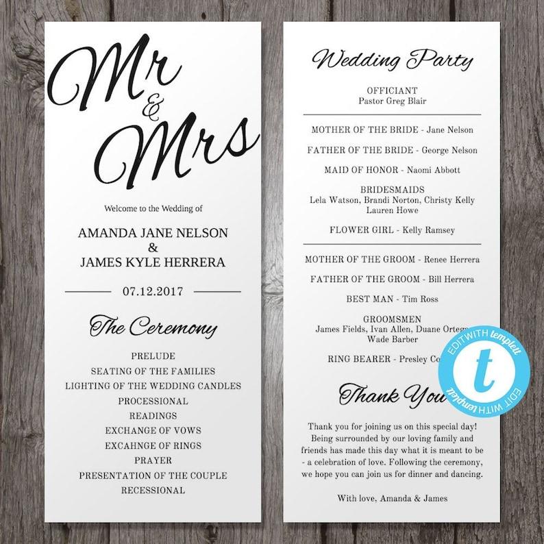 Mr & Mrs Printable Wedding Program Template Black  White image 0