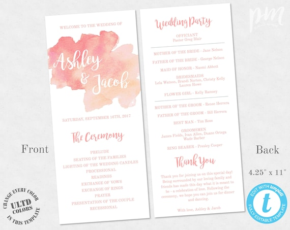 coral watercolor wedding program template 1 2 page printable etsy