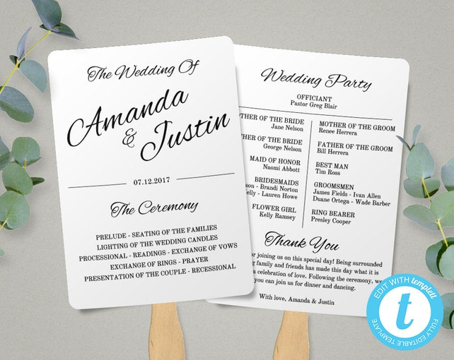 Printable Wedding Program Fan Template, Fan Wedding Program Template, Instant Download, Ceremony Program, Editable Fan Program, Printable