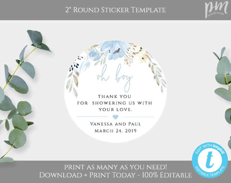 Thank You Sticker Label Template for Boy Baby Shower, Oh Boy Favor Ideas,  Blue Circle Favor Tag, Printable Favor Labels, DIY Tag 2