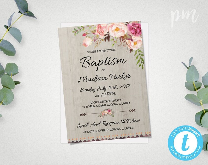 Floral Baptism Invitation Template Christening Invite Etsy