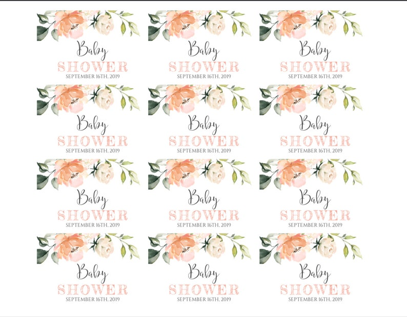 BSP2 Mini Champagne Bottle Label Templates Peach Floral Watercolor Baby Shower Decor for Girl DIY Editable Template Water Bottle Label