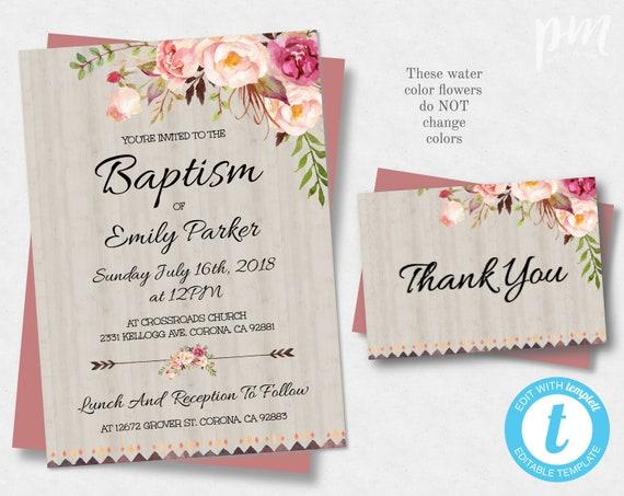 Floral Bohemian Printable Baptism Invitation Template Christening Invite Floral Baptism Instant Download Baptism Invite Boho Baptism