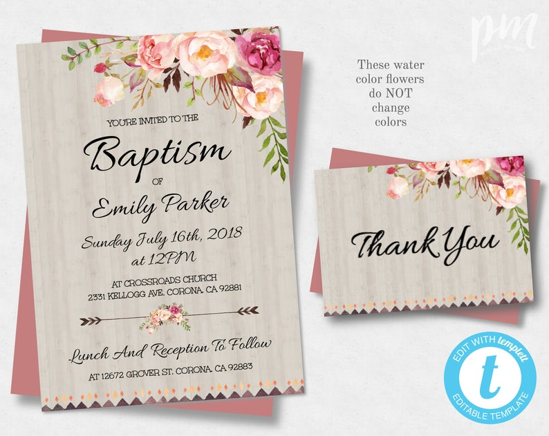 Floral Bohemian Printable Baptism Invitation Template Etsy