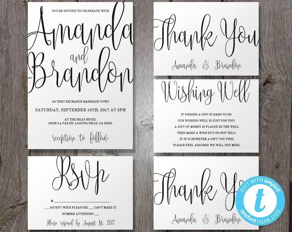 Calligraphy Script Printable Invitation Wedding Invitation Template