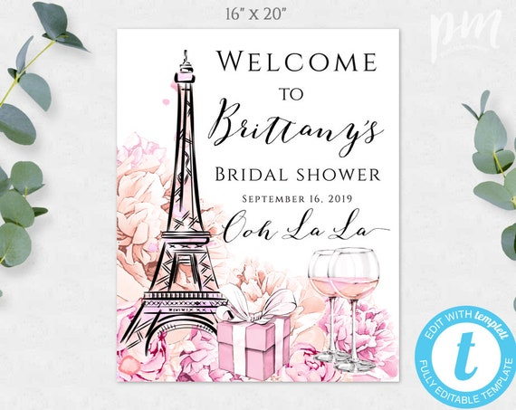 picture regarding Eiffel Tower Template Printable called Eiffel Tower Paris Concept Welcome Indicator Template for Bridal Shower, Printable French Marriage ceremony Shower Signal, Bridal Shower Decor Welcome, WSP