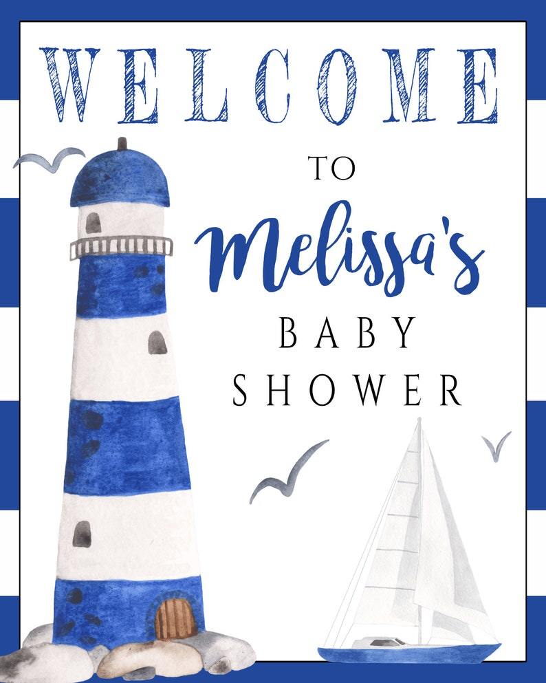 Nautical Baby Shower Welcome Sign Template Lighthouse Shower Welcome Sign Beach Baby Shower Welcome Poster Sign Ahoy It/'s a Boy Shower BSN