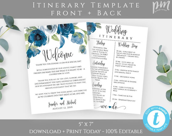 Blue Floral Wedding Itinerary Template Download, Printable Wedding Itinerary, Fully Editable Welcome Note & Wedding Timeline, Welcome Letter