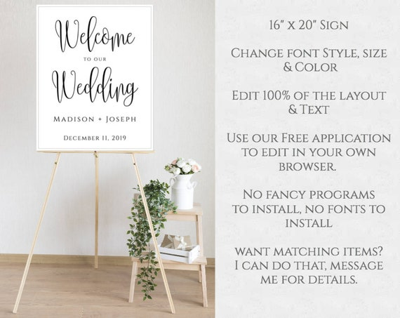 Welcome Sign Template For Wedding Printable Calligraphy Wedding Poster Diy Editable Welcome Sign Download 16 X 20 Welcome Sign Wbwc