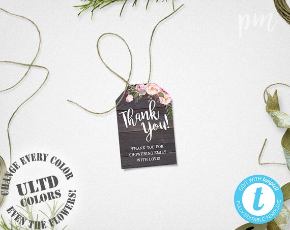 Baby Shower Favor Tags Template Printable Rustic Floral Thank