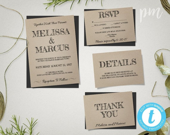 Diy Rustic Wedding Invites Rustic Wedding Invitation Template Suite Printable Invites Kraft Invitation Wedding Template Editable Invite