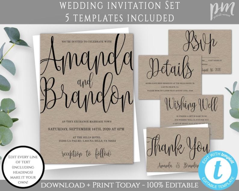 RSVP Huge Wedding Printable Bundle Save the Date Thank you card and more Modern Wedding Printables Bundle: Invitation