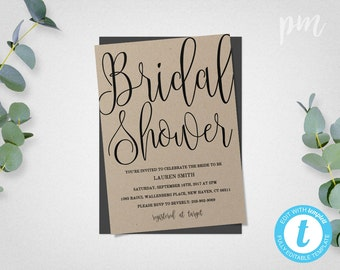 Bridal Shower Invitation Template, Bridal Shower Invite, Instant Download, Wedding Shower Invitation Printable, Calligraphy Script
