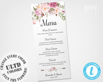 Wedding Menu Template, Printable Menu, Floral Wedding Menu Template, Wedding Dinner Menu, Instant Download, Edit in Our Web App