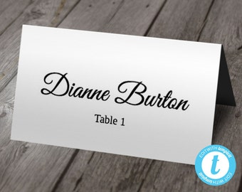 Wedding Place Card Template, Escort Cards, Calligraphy, Instant DOWNLOAD, Folding Tent Style Seating Cards, Seating Template