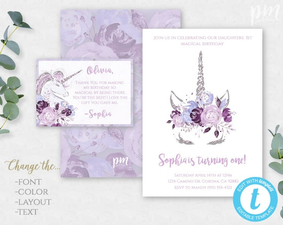 Unicorn Birthday Party Invitation Unicorn Party Unicorn