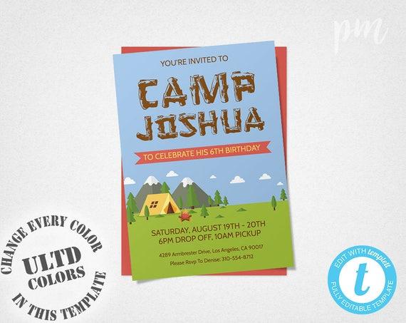 camping birthday invitation template camping invitation boy etsy