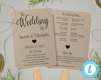 greenery wedding program fan template wedding fan template