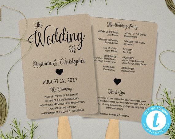 kraft paper program fan template fan wedding program etsy