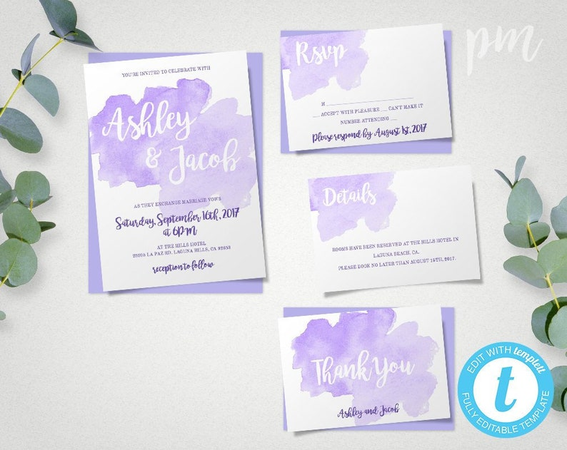 Purple Watercolor Wedding Invitation Suite Lavender Template Set With RSVP Lilac Invitations Edit Print Yourself Instant Download WBPW