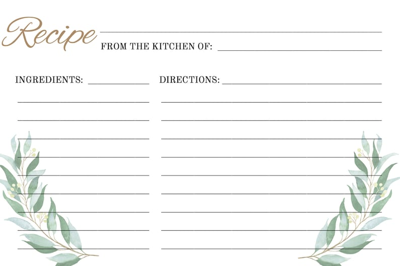 Printable Recipe Instant Download Personalized Card Greenery Recipe Card Template WSGG Bridal Shower Recipe Card Editable Template