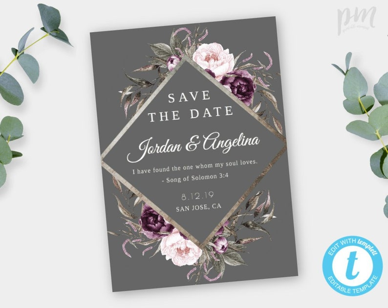 Save The Date Template, Purple and Gray Floral Engagement Announcement,  EDITABLE, Printable Save The Dates Instant Download 5x7, WBPG