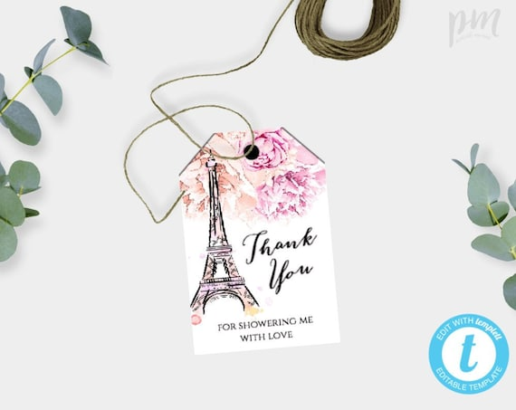 Paris Thank You Tag Template, French Wedding Tag, Floral Thank You Tag,  Editable Bridal Shower Thank You Tag Printable Baby Shower Tag, WSP